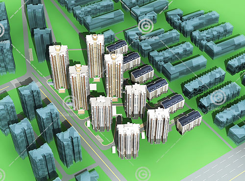 现代高层多层组合住宅小区3D模型下