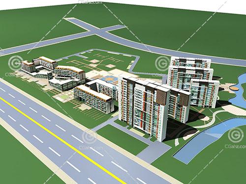 高层多层组合住宅小区3D模型下载