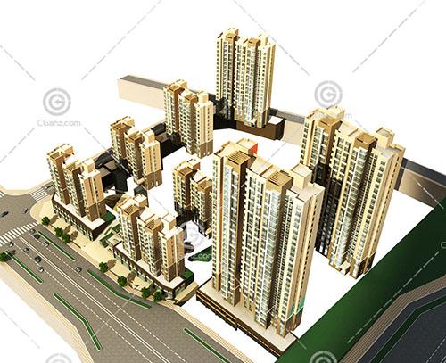 现代多层高层组合住宅区3D模型下载