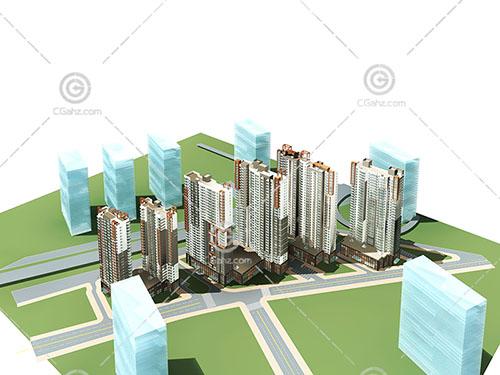 简单的现代住宅小区3D模型下载