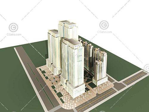 高层住宅小区模型下载