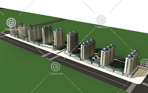 沿街的高层住宅小区3D模型下载