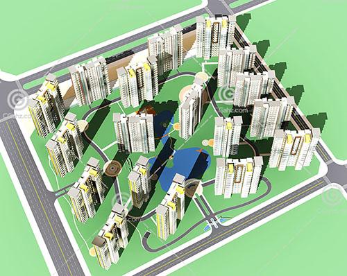 高层住宅区3D模型下载