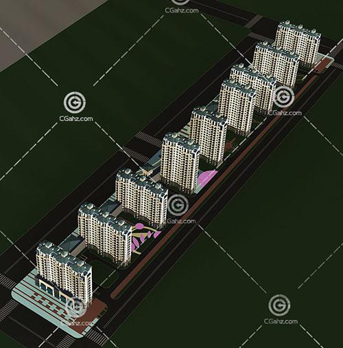 横排高层住宅小区3D模型下载