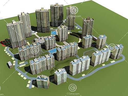 高度不同的高层住宅小区3D模型下载
