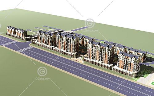 沿街的现代高层住宅小区3D模型下载