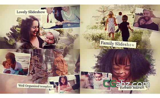 怀旧风格的家庭主题照片展示AE模板