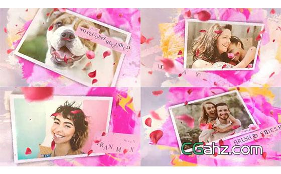 彩色笔刷和花瓣中快乐甜蜜的照片展