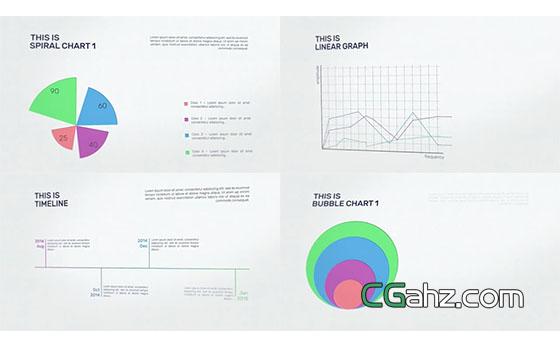 紙質背景上的數據統計信息圖AE模板