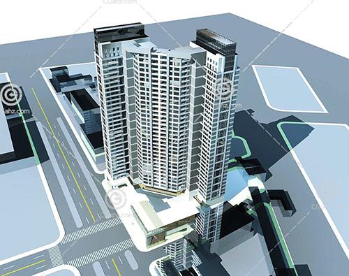 现代独栋高层住宅模型下载