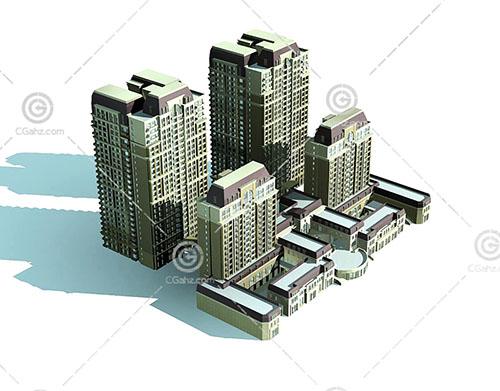 简单的高层多层这住宅小区3D模型下载