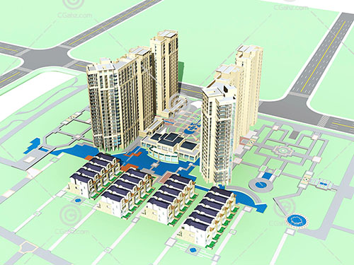 带有广场的高层住宅小模型下载