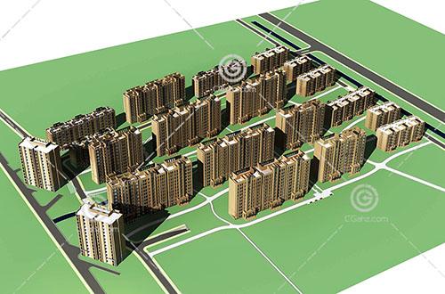 现代高层多层组合住宅小区模型下载