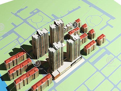 高层多层组合住宅区模型下载