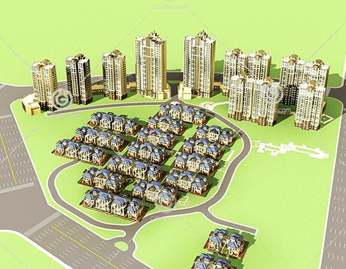 别墅高层住宅组合小区3D模型下载