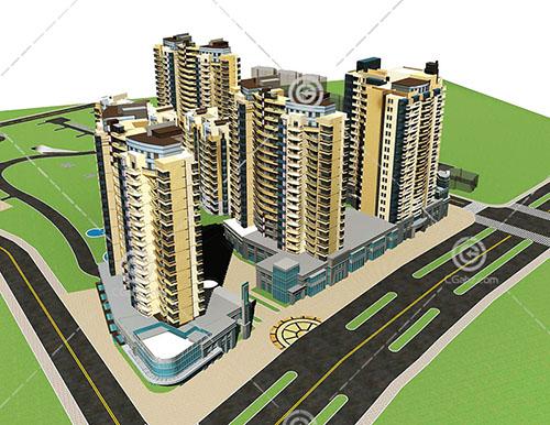 街边的高层住宅小区3D模型下载
