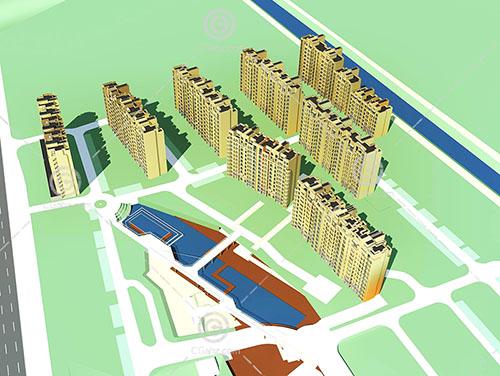 现代的高层住宅小区3D模型下载