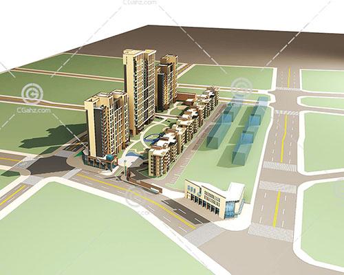 楼层高度不同的住宅小区3D模型下载