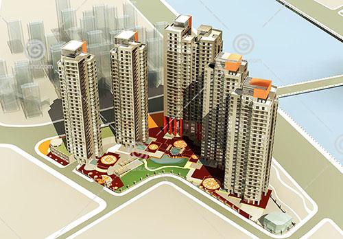 沿街现代高层住宅小区3D模型下载