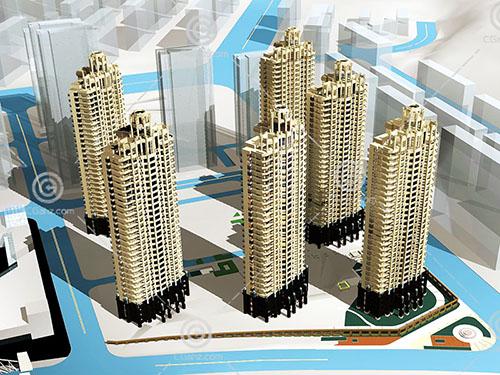 街边高层住宅小区3D模型下载