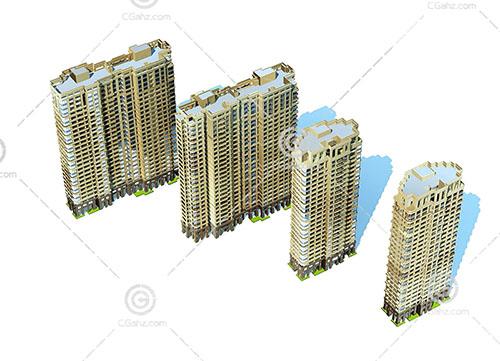 高层建筑组合3D模型下载