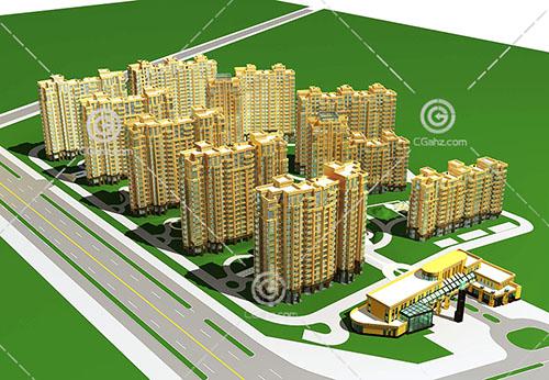 常见的现代住宅小区3D模型下载