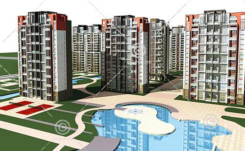 带有泳池的高层住宅小区3D模型下载