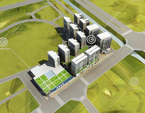 现代街边高层住宅3D模型下载