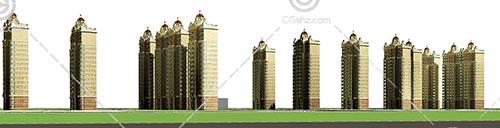 欧式高层住宅小区3D模型下载