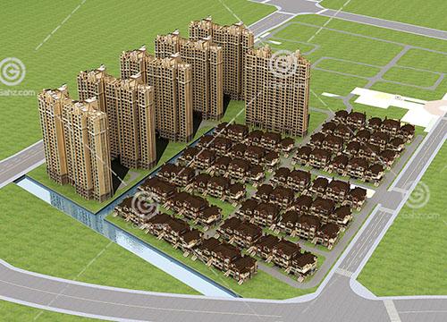 高层住宅别墅组合小区3D模型下载