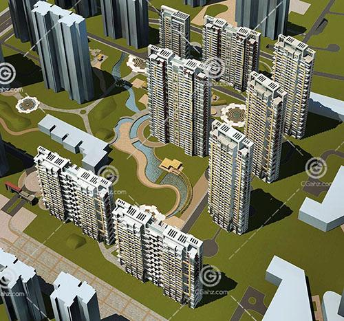 带有小河的高层住宅小3D模型下载