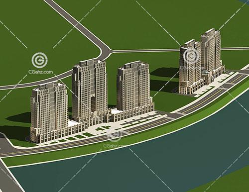 路边的高层住宅小区3D模型下载