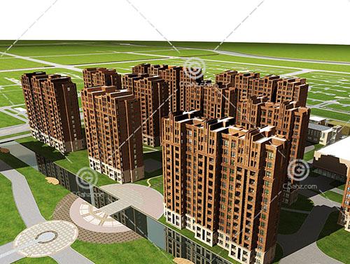 整排的高层住宅小区3D模型下载