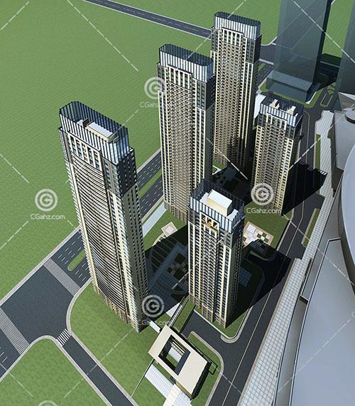 现代简洁的高层住宅小区3D模型下载