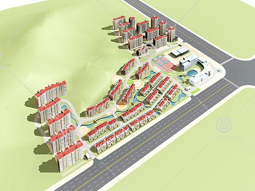 高层住宅排屋组合小区模型下载