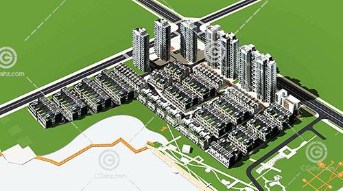 高层住宅排屋组合小区3D模型下载