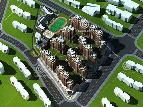 带有球场的高层住宅区3D模型下载