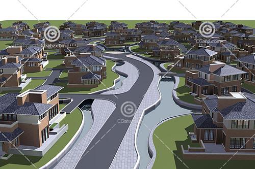 现代简单的别墅区3D模型下载