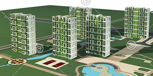 简单的多层住宅小区3D模型下载