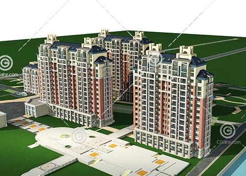 带有广场的高层住宅小区模型下载