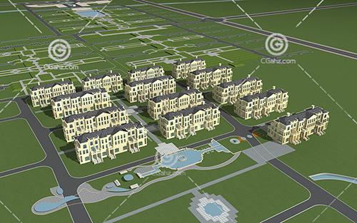 别墅小区模型下载