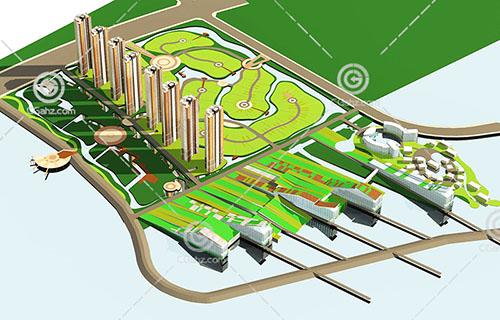 竖排的高层住宅小区3D模型下载