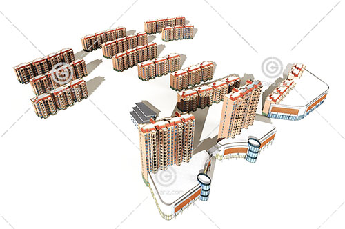 街边高层住宅小区模型下载