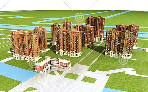 带有售楼部的高层住宅小区3D模型下载