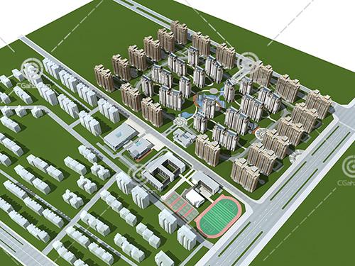 带有篮球场的现代高层住宅小区3D模型下载