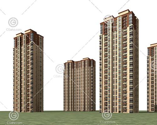简单的高层住宅小区3D模型下载