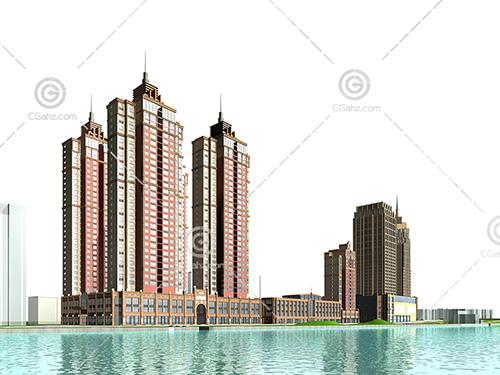 河边高层住宅小区3D模型下载
