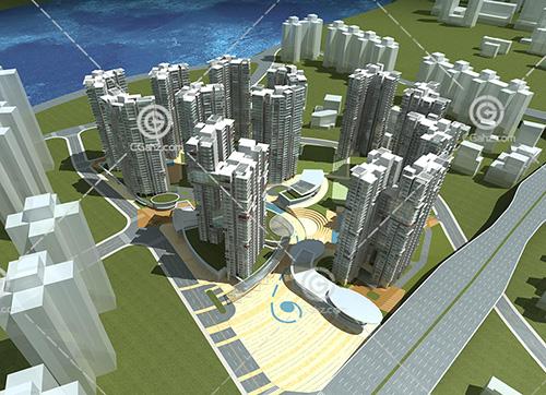 科技感的现代高层住宅3D模型下载