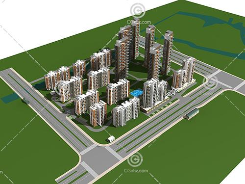 高层多层住宅小区3D模型下载