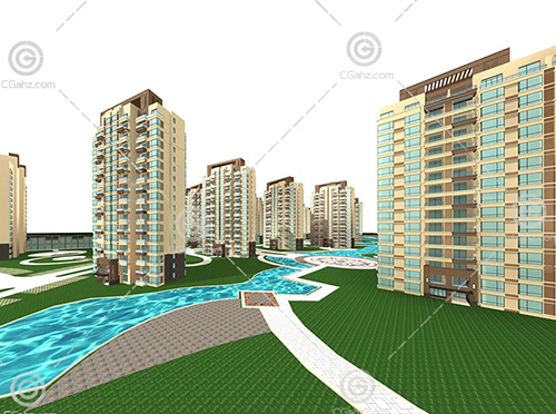带有小河的高层住宅区3D模型下载